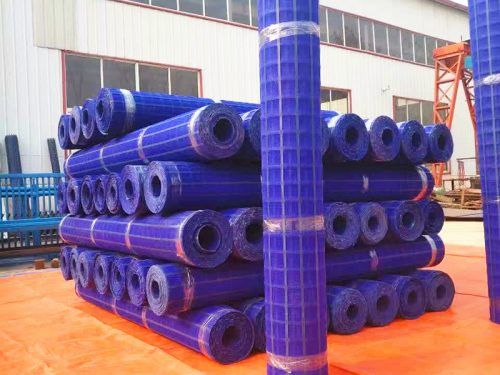 Blue grid construction safety nets